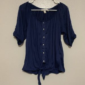 French Laundry Navy Blue 3/4 Sleeve Blouse